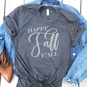 Happy Fall y'all graphic t-shirt heather grey tee